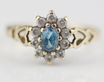 9ct Gold CZ Clear and Blue Cluster Ladies Ring with Heart Side Pattern UK K  and US 5.25