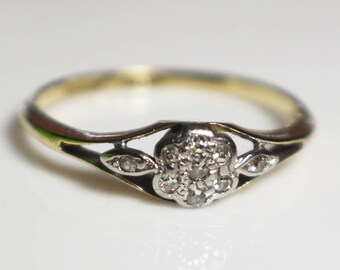 Yellow Gold and Diamond Daisy Shape Engagement Ring  Size UK O and US 7.25  Stamped 18ct