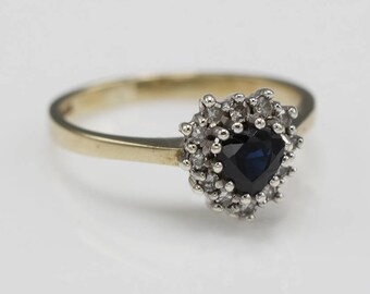 Heart Shaped 9ct Gold Diamond and Sapphire Ladies Cluster Ring    Size  UK L 1/2   US 6