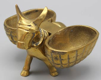 Vintage Small Brass Donkey Mule Ornament with Removable Baskets