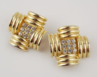 Oversized Gold Plated Square and Clear Diamante Clip on Earrings