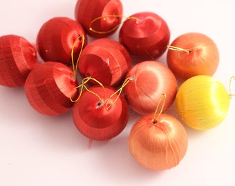 12 Kitsch Fibre Satin Style Round Christmas Baubles Small Size Christmas Decorations