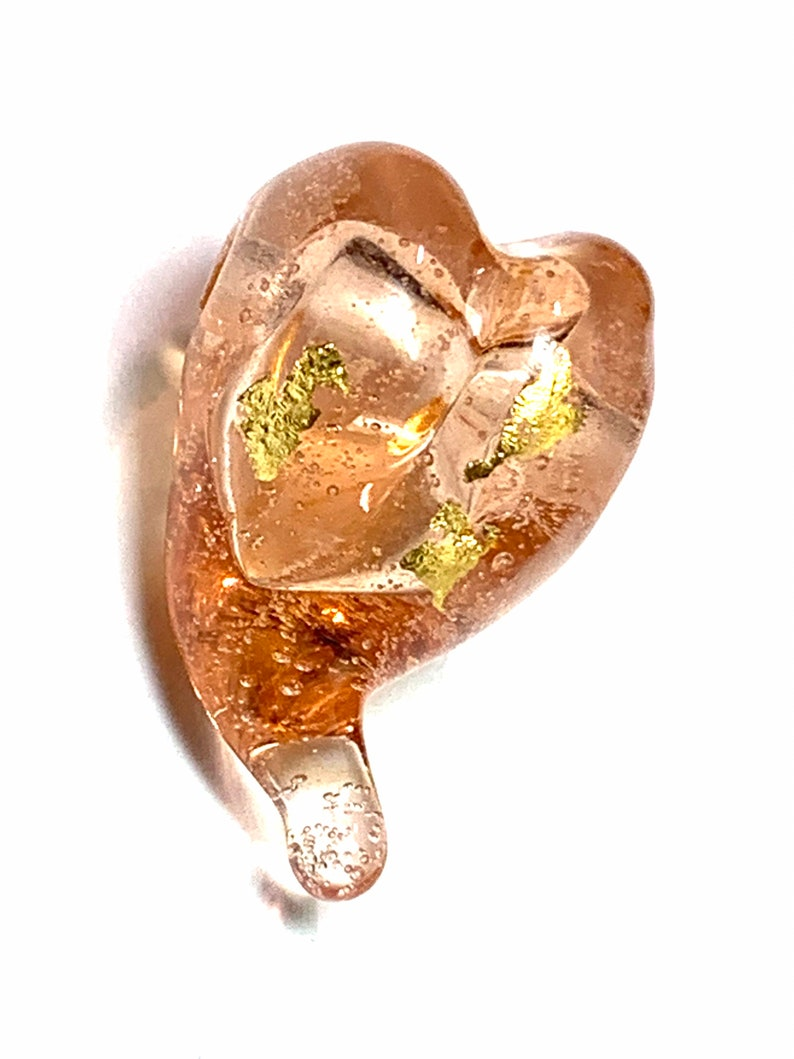 Artisan SRA Made~Colombo~Lampwork Heart Bead~23k Gold~Glistening Peach~Glass Focal Bead H3