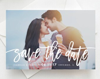 Handwritten Photo Save the Date Postcard / Magnet / Flat Card - Save the Date Magnet, Photo Wedding Magnet, Wedding Save the Date