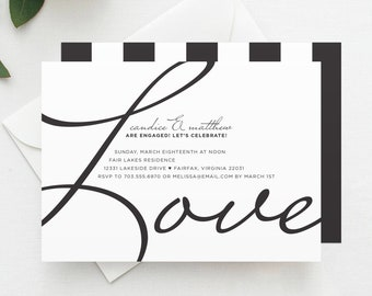 Handwriting Simplicity Engagement Party Invitation Printed Etsy