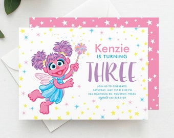 Sesame street invitation template etsy abby cadabby birthday invitation template abby birthday invitation sesame street invitation digital file template instant download filmwisefo