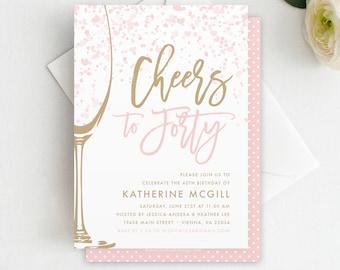 Cheers To 40 Birthday Invitation Template