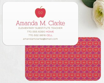 teacher business card digital files teacher substitute teacher tutor instructor business cards printable editable instant download - Substitute Teacher Business Cards