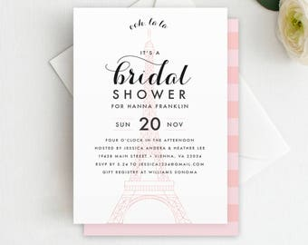 parisian bridal shower invitation printable instant download paris theme paris bridal shower eiffel tower shower invitation french theme