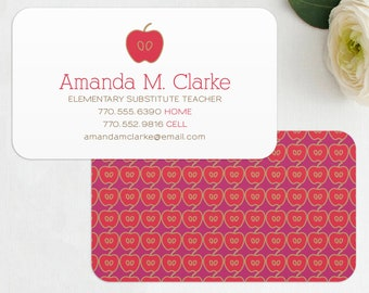 Teacher business card digital files teacher substitute etsy teacher business card calling card mommy card contact card teacher substitute teacher tutor instructor business cards colourmoves