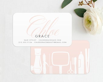 grace hairstylist barber business card printed hair stylist business card stylist calling card hair business card salon business cards - Hairstylist Business Cards