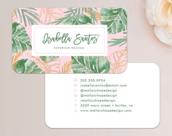 Palm Leaves Business Card / Calling Card / Mommy Card / Contact Card - Interior Designer, Event Planner, Calling Cards, Business Cards