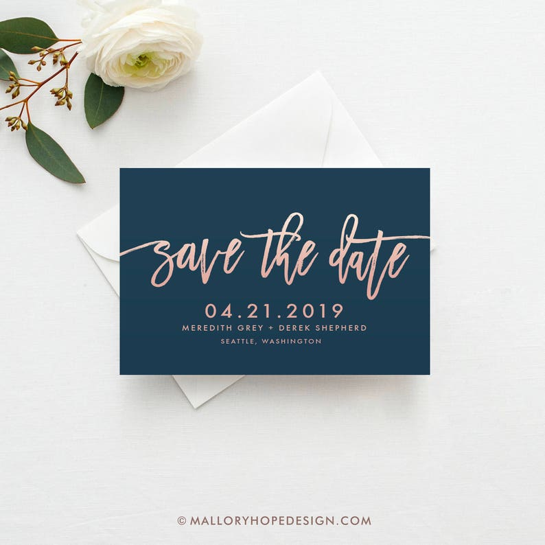 Handwritten Save the Date Rose Gold Save the Date Save the image 0