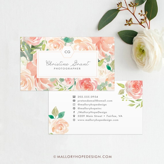Floral Business Card Calling Card Mommy Card Contact Etsy