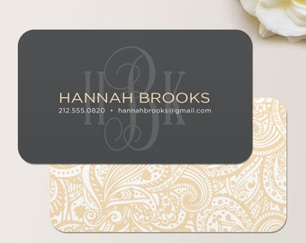 Monogram Business Card / Calling Card / Mommy Card / Contact Card - Interior Designer, Event Planner, Calling Cards, Business Cards