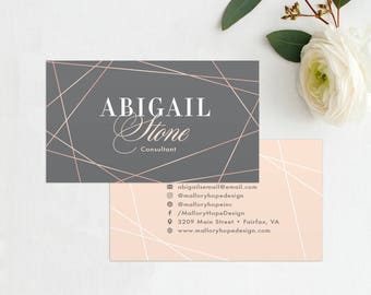 Geometric Business Card, Faux Rose Gold, Calling Card, Mommy Card, Contact Card - Interior Designer, Event Planner, Small Business Cards