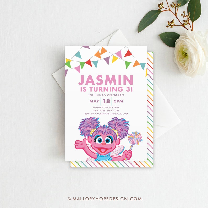 Abby Cadabby Birthday Invitation Sesame Street Birthday Etsy