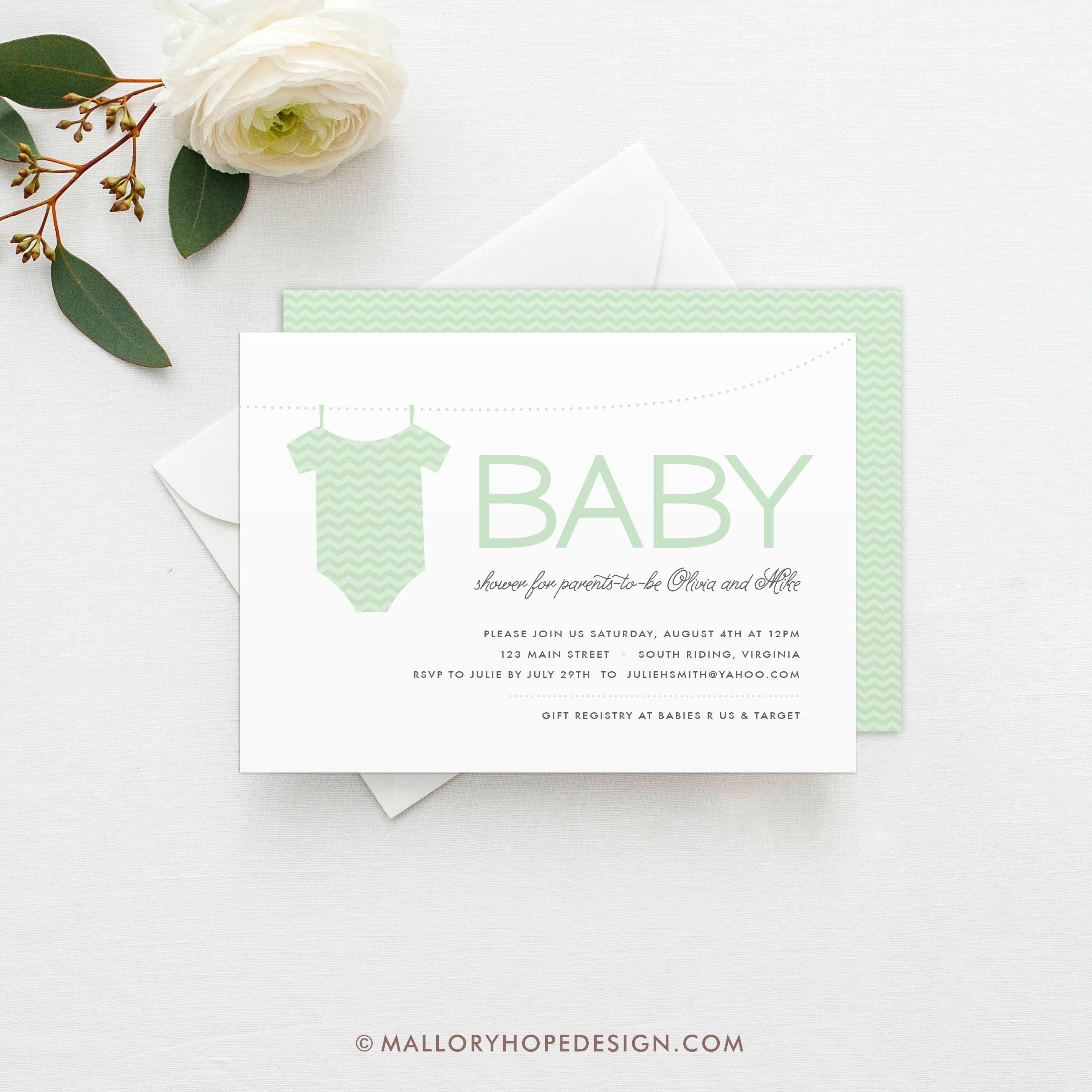 Onesie Baby Shower Invitation Template Onesie Shower | Etsy
