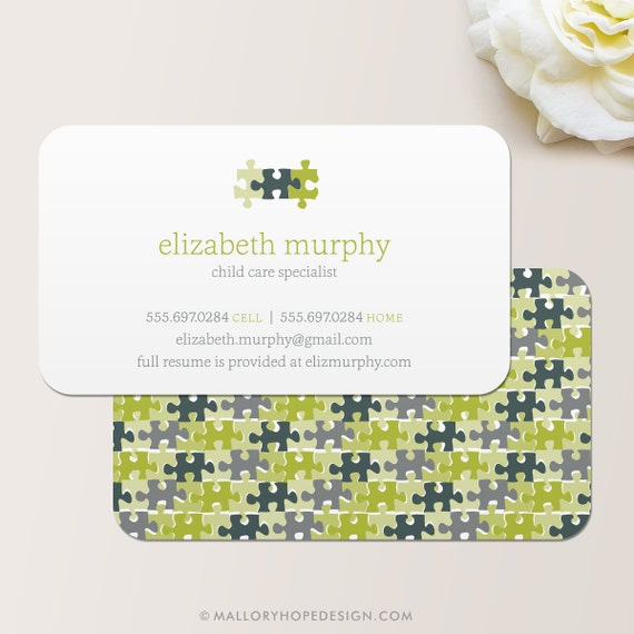 Puzzle pieces business card calling card mommy card etsy image 0 colourmoves