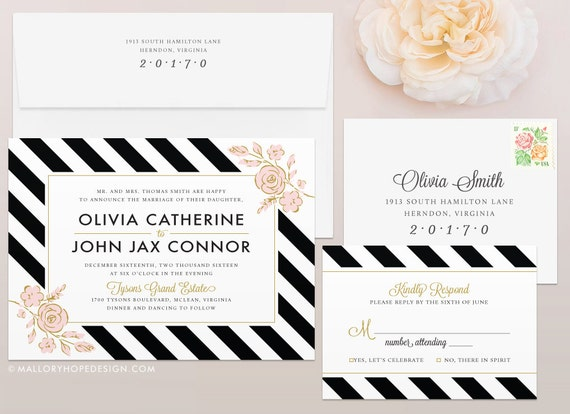 Striped Wedding Invitations: Floral Stripes Wedding Invitation & RSVP Set Wedding