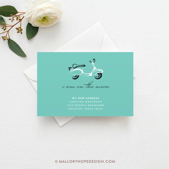 scooter moving announcement template diy new home card etsy