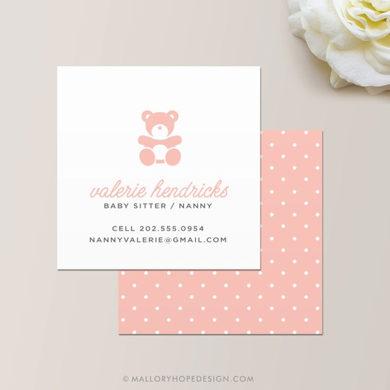 Nanny Or Babysitter Square Business Card Calling Card Etsy
