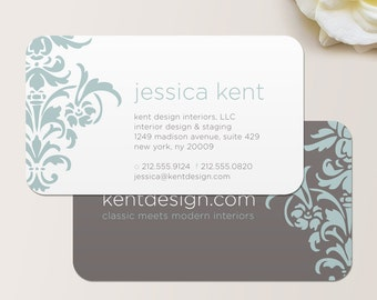 Bold Damask Business Card / Calling Card / Mommy Card / Contact Card - Interior Designer, Event Planner Business Cards, Modern Calling Cards
