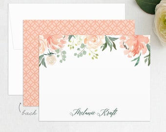 Floral Stationery Set, Floral Thank You Card, Personalized Stationery, Bridal Stationery, Personal Stationery, Custom Wedding Thank You