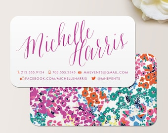 Modern Floral Business Card / Calling Card / Mommy Card / Contact Card - Calling Cards, Business Cards, Modern Business Cards