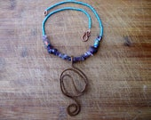 Abstract Swirls Amethyst Rainbow Turquoise Necklace