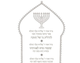 graphic about Hanukkah Prayer Printable called Hanukkah Prayers-Menorah Printable-Hanukiah blessing-Therapeutic