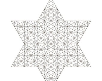 Crystalized Star of David-Coloring Page-2021 COLLECTION-Jewish Art-Printable PDF-Divine Holiness-Sacred Holy Symbols-Magen David-HALELUYA