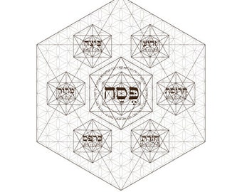 Passover Seder Plate Coloring Page The Flower Of Life Octahedrons-Pesach Plates-Sacred Geometry-Jewish Art-Judaica Crafts-INSTANT DOWNLOAD