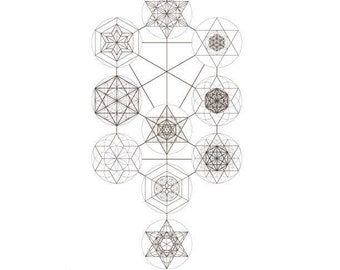 The Ten Sefirot-The Tree of Life-Kabbalah Elements With Sacred Geometry Symbols-Jewish Art-Printable Design-INSTANT DOWNLOAD by @HALELUYA