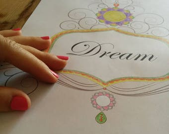 Dream Coloring Page-1 Printable Design-Digital Print-Diy Wall Décor-Arts Crafts-Decorate Home-INSTANT DOWNLOAD by @HALELUYA Sacred Soul Art
