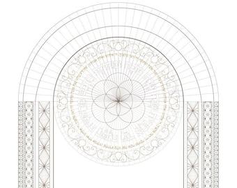 Rosh Hashanah Mandala Blank Frame To Color-Blessing Decoration-New Year Biblical Prayer-Jewish Art-Printable-Holidays Decorating Ideas Craft