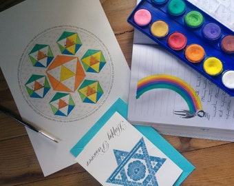 Passover Seder Plate Coloring Page-Haggadah Mitzvah-Sacred Geometry-Flower of Life-Icosahedron-Pesach -Jewish Art-Judaica-INSTANT DOWNLOAD