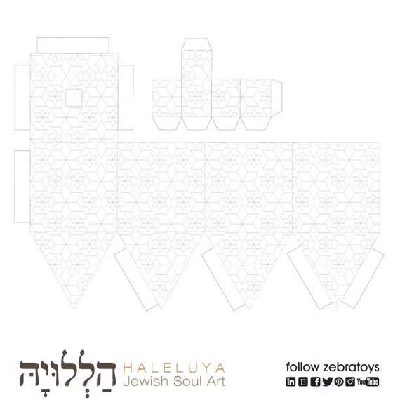 Hanukkah Decorations 3D Dreidel-PaperCraft Coloring Template