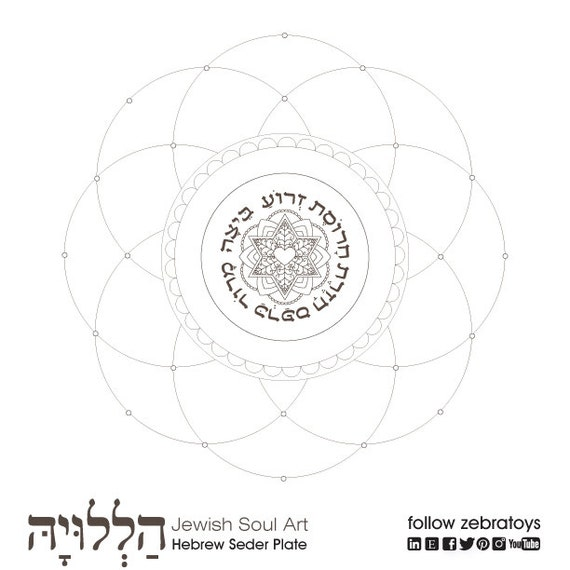 Hebrew Seder Plate Passover Coloring Page 1 Printable Etsy
