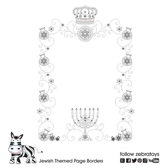 photo relating to Printable Page Borders identified as 2 Jewish Themed Web site Borders-Crown Menorah Frames-star of David Mandala artwork Blessings-Sbooking Printable Site-A4 sheets-Immediate Obtain