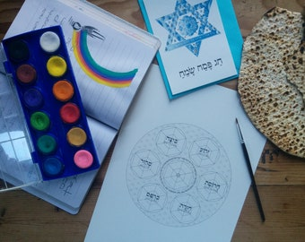 Passover Seder Plate Haggadah  Blessing Coloring Page-Sacred Geometry Flower of Life Hexahedron-Pesach-Jewish Art-Judaica-INSTANT DOWNLOAD