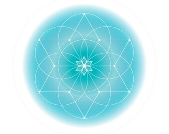Healing Love Frequencies Print-Sacred Geometry Soul Art-Geometric-Aqua-Secret Elements-A4 Printable Pdf Design-INSTANT DOWNLOAD HALELUYA