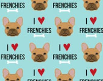 bf30bf64c0eba I Love Fawn Frenchies on Blue - Handmade Scrub Hats