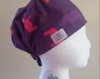 495b681c587 Rhinos on Purple - Made to Order Scrub Hats