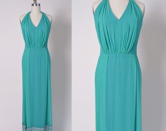 Vintage 1960s Dress 60s Halter Evening Gown Chiffon