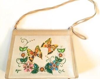Vintage 1970s Enid Collins Purse Shoulder Bag Butterfly Novelty Handbag