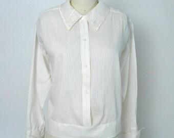 Vintage 1920s Blouse Antique Teens 1910s Cotton Shirt Size Medium Large