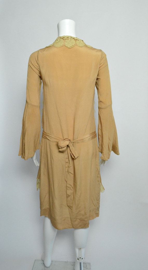 1920s Dress 20s Silk Day Dress with Scalloped Lace - image 6