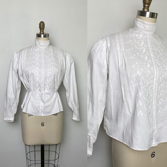 Antique Edwardian Blouse 1900s Embroidered