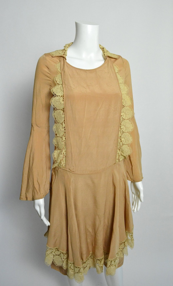 1920s Dress 20s Silk Day Dress with Scalloped Lace - image 4
